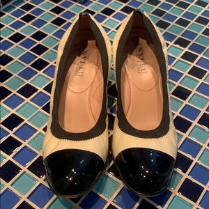 anyi lu black and cream handmade leather shoes